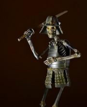 タケヤ式自在置物 KT-009 骸骨武者 (がいこつむしゃ) 鉄錆地調